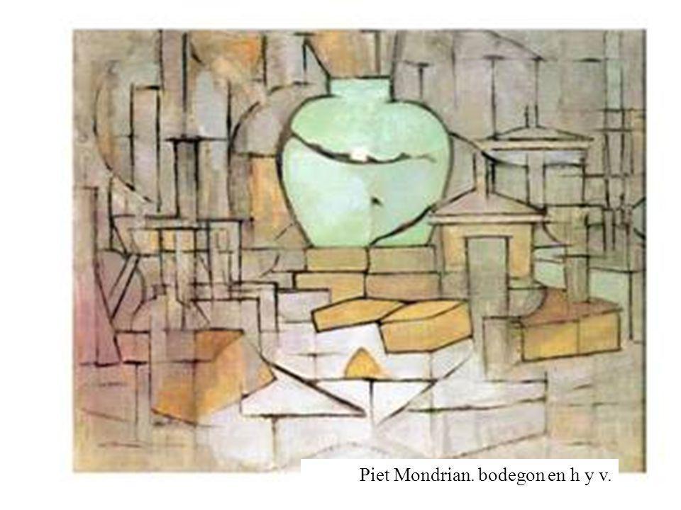Piet Mondrian. bodegon en h y v.