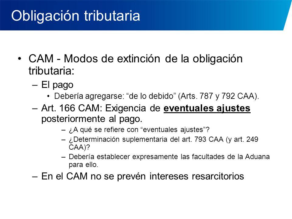Obligación tributaria CAM - Modos de extinción de la obligación tributaria: –El pago Debería agregarse: de lo debido (Arts. 787 y 792 CAA). –Art. 166