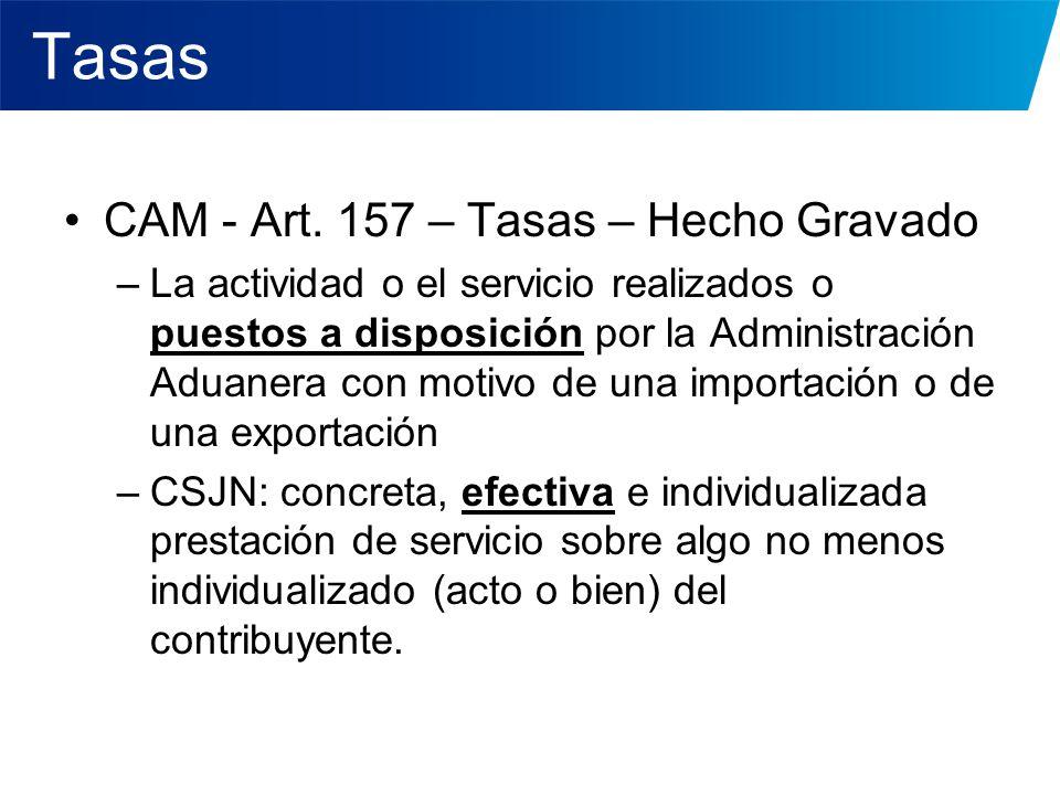Tasas CAM - Art. 157 – Tasas – Hecho Gravado –La actividad o el servicio realizados o puestos a disposición por la Administración Aduanera con motivo