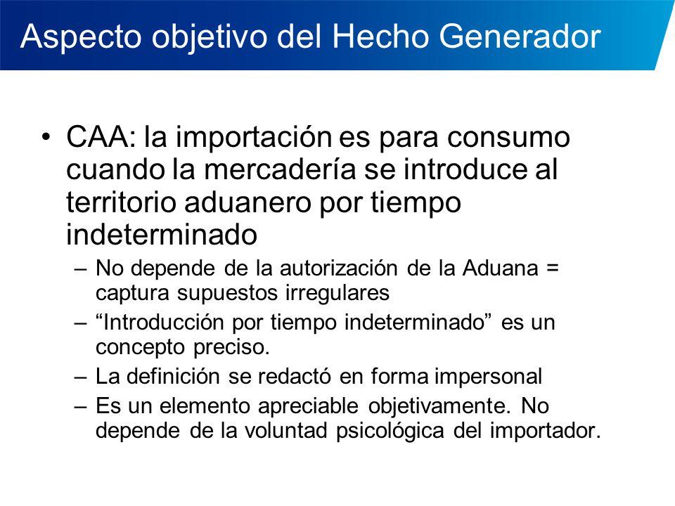 Aspecto objetivo del Hecho Generador CAA: la importación es para consumo cuando la mercadería se introduce al territorio aduanero por tiempo indetermi