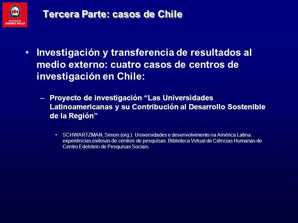 Tercera Parte: casos de Chile Investigación y transferencia de resultados al medio externo: cuatro casos de centros de investigación en Chile: –Proyec