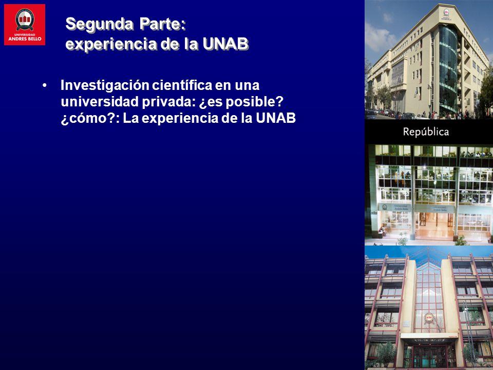 Investigación científica en una universidad privada: ¿es posible? ¿cómo?: La experiencia de la UNAB Segunda Parte: experiencia de la UNAB