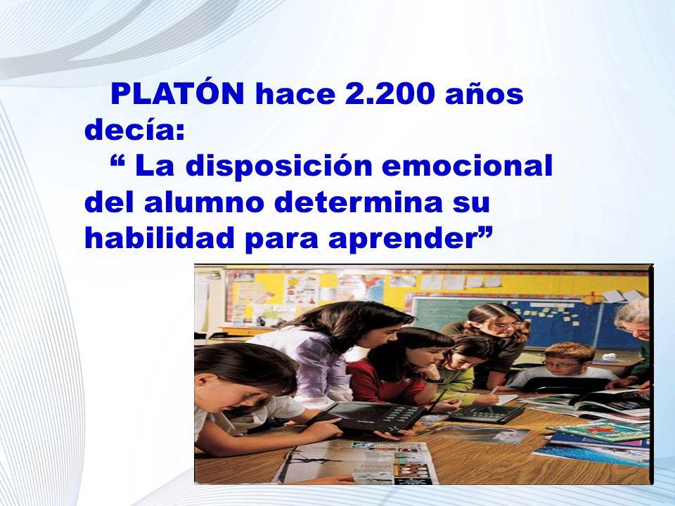 PLATÓN hace 2.200 años decía: La disposición emocional del alumno determina su habilidad para aprender