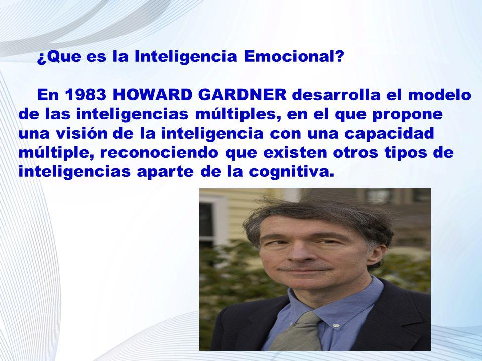 ¿Que es la Inteligencia Emocional? En 1983 HOWARD GARDNER desarrolla el modelo de las inteligencias múltiples, en el que propone una visión de la inte