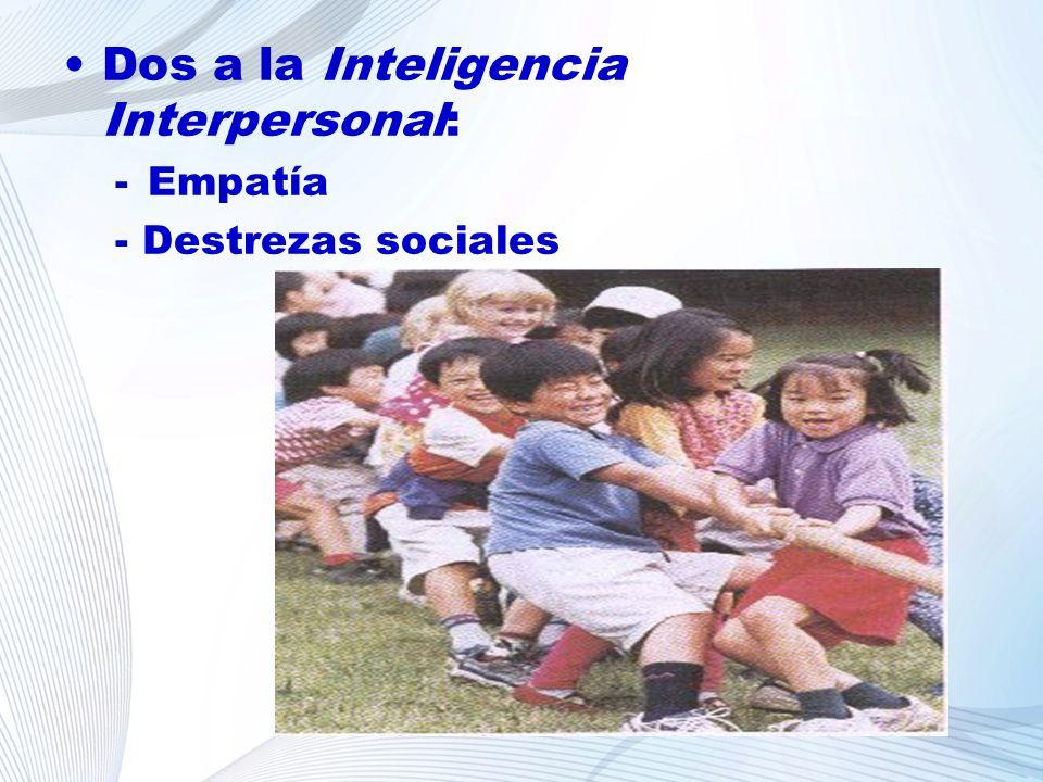 Dos a la Inteligencia Interpersonal: -Empatía - Destrezas sociales