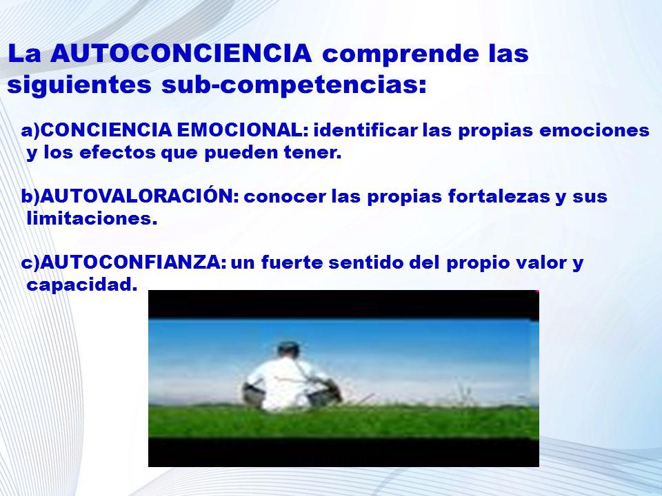 La AUTOCONCIENCIA comprende las siguientes sub-competencias: a)CONCIENCIA EMOCIONAL: identificar las propias emociones y los efectos que pueden tener.