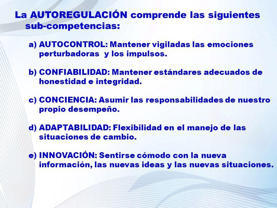 La AUTOREGULACIÓN comprende las siguientes sub-competencias: a)AUTOCONTROL: Mantener vigiladas las emociones perturbadoras y los impulsos. b)CONFIABIL