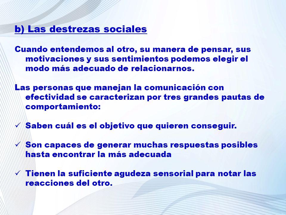b) Las destrezas sociales Cuando entendemos al otro, su manera de pensar, sus motivaciones y sus sentimientos podemos elegir el modo más adecuado de r