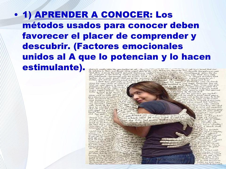 1) APRENDER A CONOCER: Los métodos usados para conocer deben favorecer el placer de comprender y descubrir. (Factores emocionales unidos al A que lo p