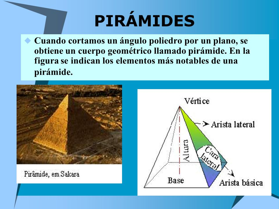 PIRÁMIDES Cuando cortamos un ángulo poliedro por un plano, se obtiene un cuerpo geométrico llamado pirámide.