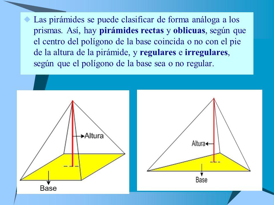 Las pirámides se puede clasificar de forma análoga a los prismas.