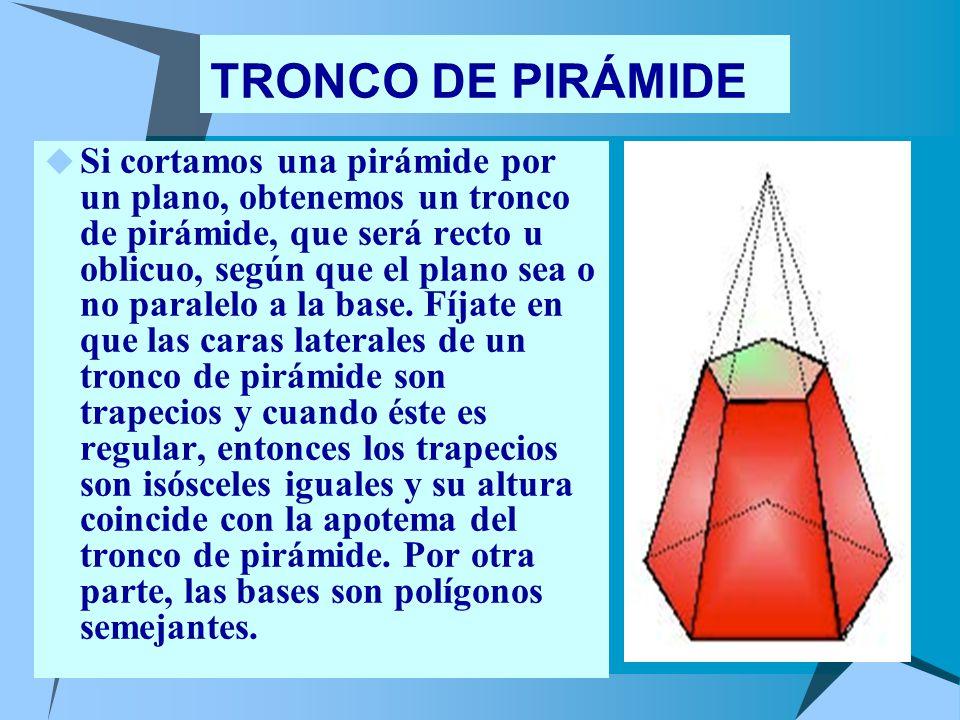 TRONCO DE PIRÁMIDE Si cortamos una pirámide por un plano, obtenemos un tronco de pirámide, que será recto u oblicuo, según que el plano sea o no paralelo a la base.