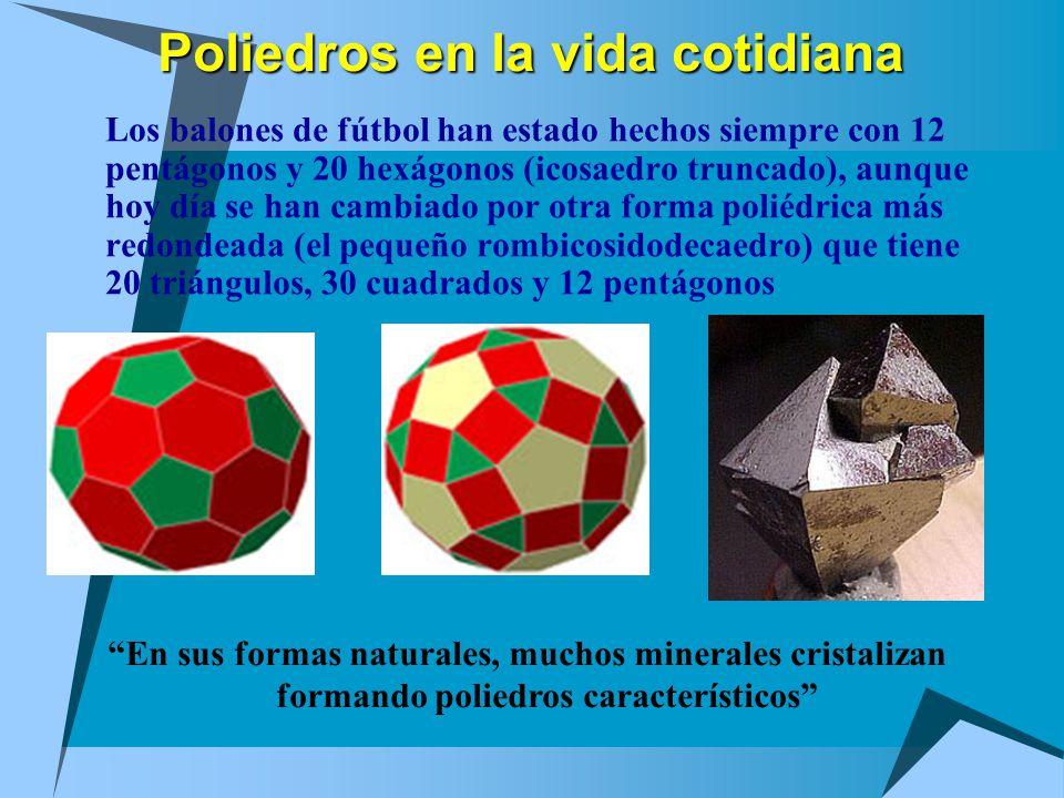 Poliedros en la vida cotidiana Los balones de fútbol han estado hechos siempre con 12 pentágonos y 20 hexágonos (icosaedro truncado), aunque hoy día se han cambiado por otra forma poliédrica más redondeada (el pequeño rombicosidodecaedro) que tiene 20 triángulos, 30 cuadrados y 12 pentágonos En sus formas naturales, muchos minerales cristalizan formando poliedros característicos