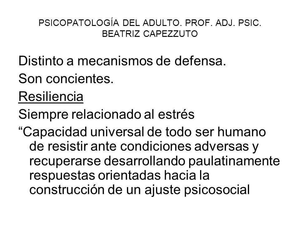 PSICOPATOLOGÍA DEL ADULTO.PROF. ADJ. PSIC. BEATRIZ CAPEZZUTO Distinto a mecanismos de defensa.