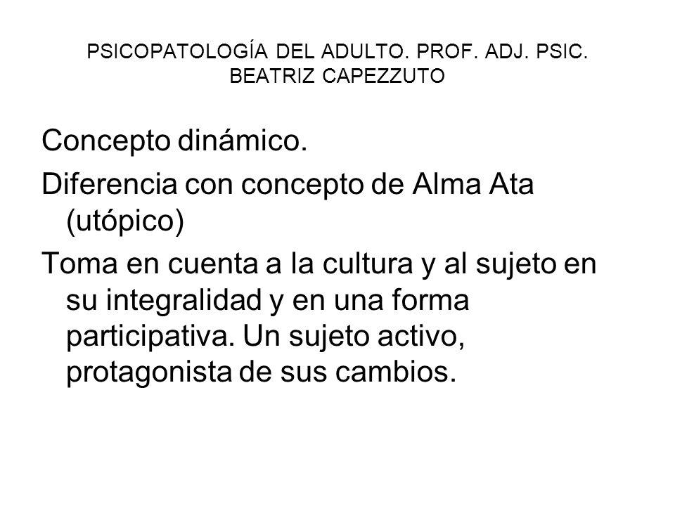 PSICOPATOLOGÍA DEL ADULTO.PROF. ADJ. PSIC. BEATRIZ CAPEZZUTO Concepto dinámico.