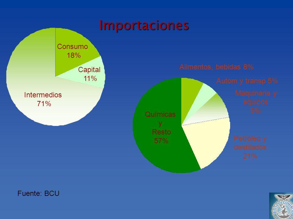 Importaciones Fuente: BCU Alimentos, bebidas 8% Autom y transp 5% Consumo 18% Capital 11% Intermedios 71% Maquinaria y equipos 9% Petróleo y destilado