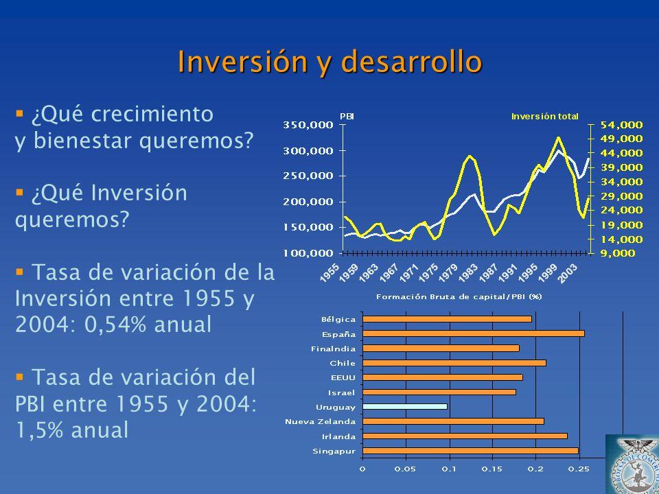 ¿Qué crecimiento y bienestar queremos? ¿Qué Inversión queremos? Tasa de variación de la Inversión entre 1955 y 2004: 0,54% anual Tasa de variación del