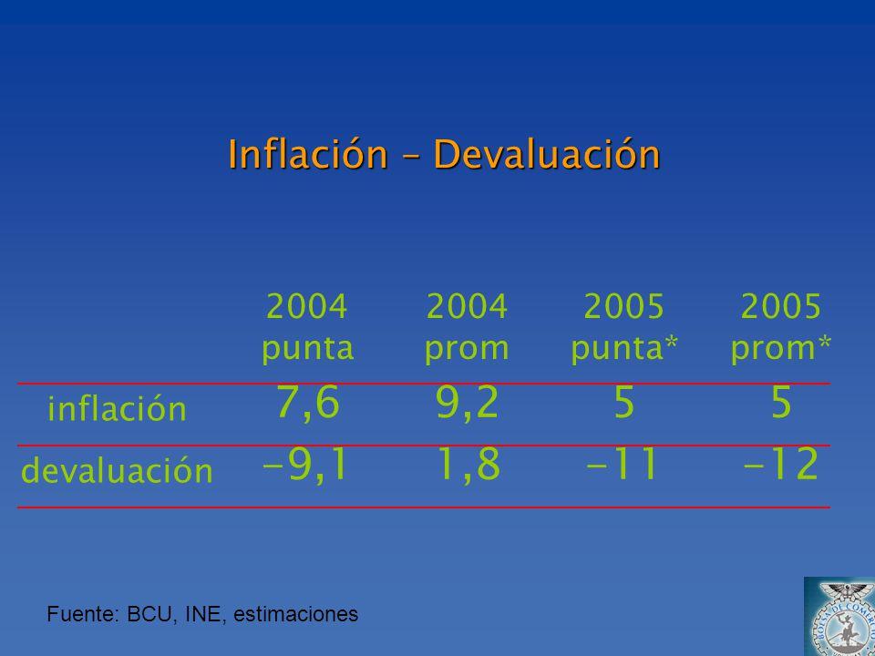 Inflación – Devaluación 2004 punta 2004 prom 2005 punta* 2005 prom* inflación 7,69,255 devaluación -9,11,8-11-12 Fuente: BCU, INE, estimaciones
