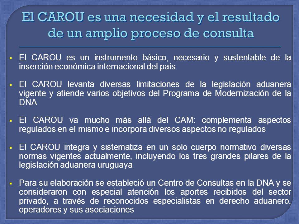 El CAROU es un instrumento básico, necesario y sustentable de la inserción económica internacional del país El CAROU levanta diversas limitaciones de