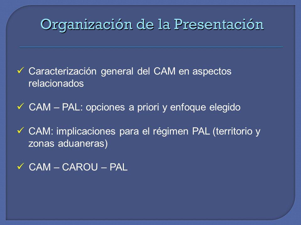 Caracterización general del CAM en aspectos relacionados CAM – PAL: opciones a priori y enfoque elegido CAM: implicaciones para el régimen PAL (territ