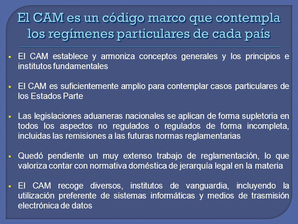El CAM establece y armoniza conceptos generales y los principios e institutos fundamentales El CAM es suficientemente amplio para contemplar casos par