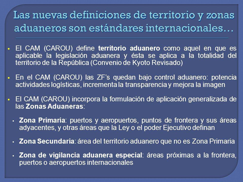 El CAM (CAROU) define territorio aduanero como aquel en que es aplicable la legislación aduanera y ésta se aplica a la totalidad del territorio de la