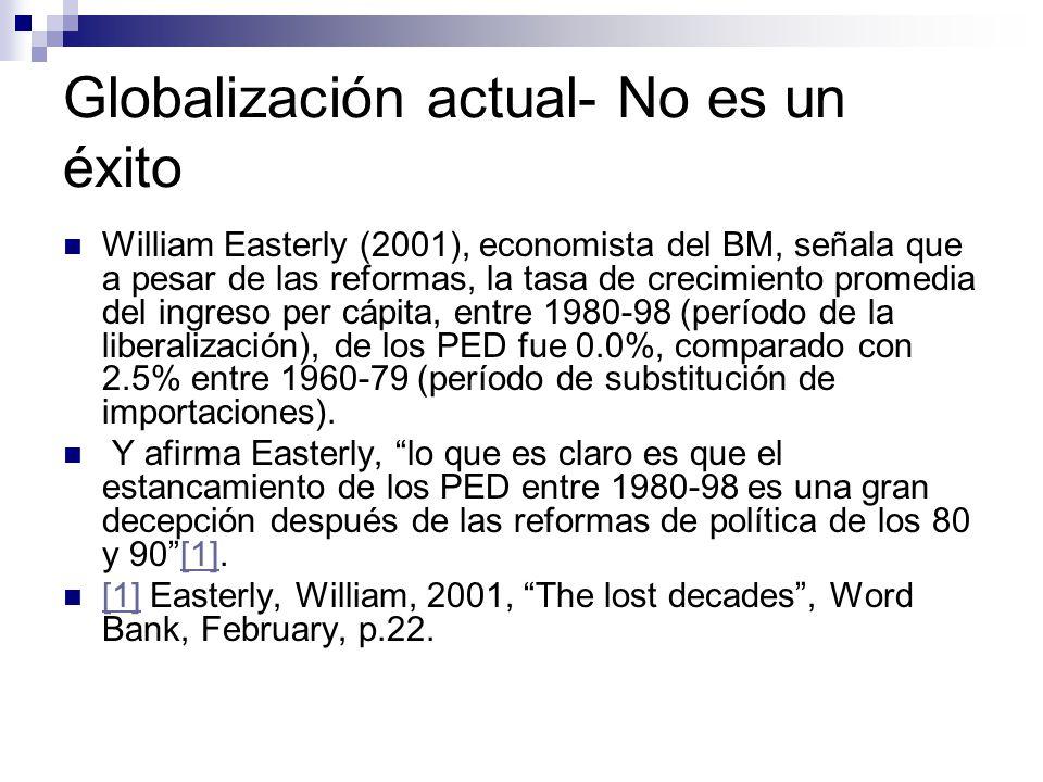 Globalización actual- No es un éxito William Easterly (2001), economista del BM, señala que a pesar de las reformas, la tasa de crecimiento promedia del ingreso per cápita, entre 1980-98 (período de la liberalización), de los PED fue 0.0%, comparado con 2.5% entre 1960-79 (período de substitución de importaciones).