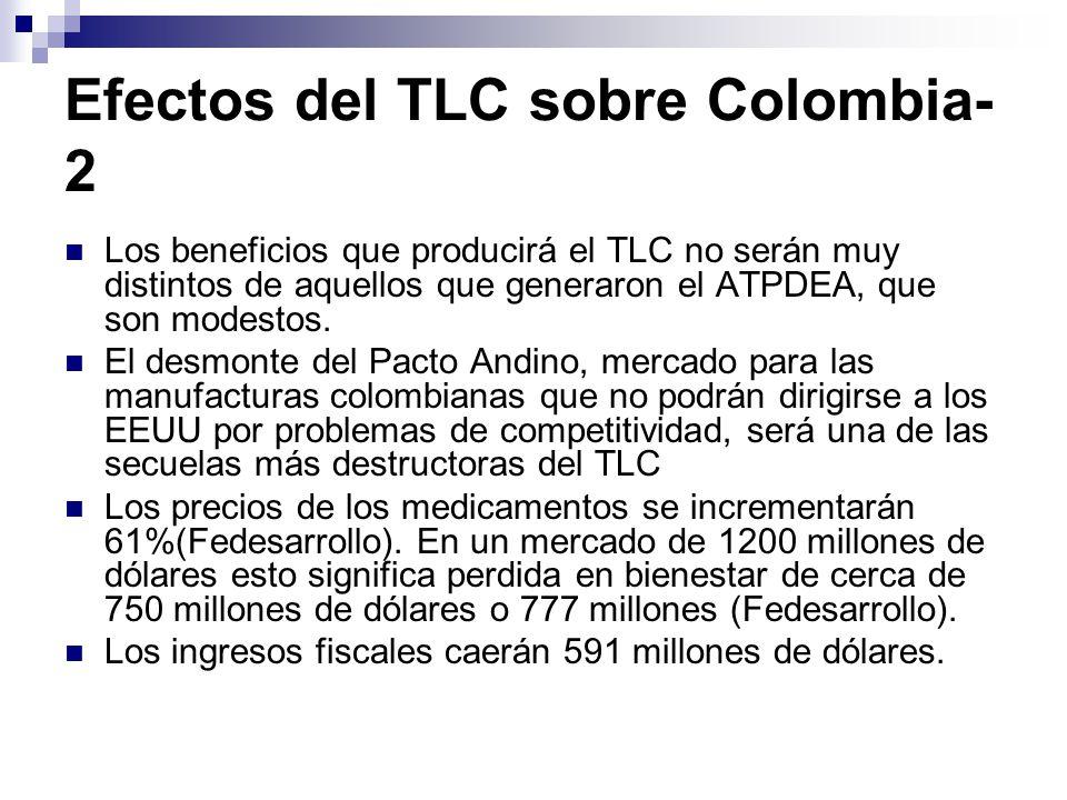 Efectos del TLC sobre Colombia- 2 Los beneficios que producirá el TLC no serán muy distintos de aquellos que generaron el ATPDEA, que son modestos.