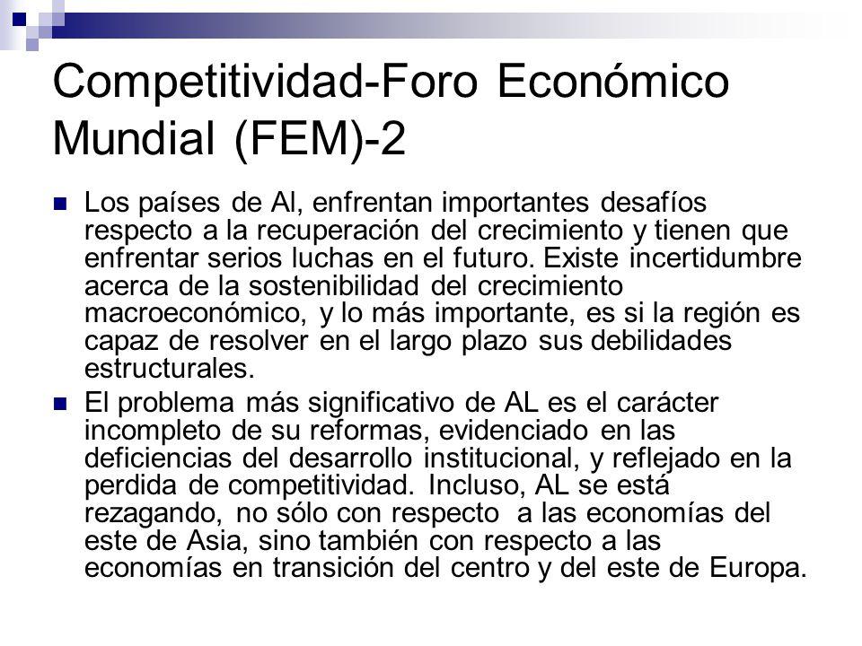 Competitividad-Foro Económico Mundial (FEM)-2 Los países de Al, enfrentan importantes desafíos respecto a la recuperación del crecimiento y tienen que enfrentar serios luchas en el futuro.