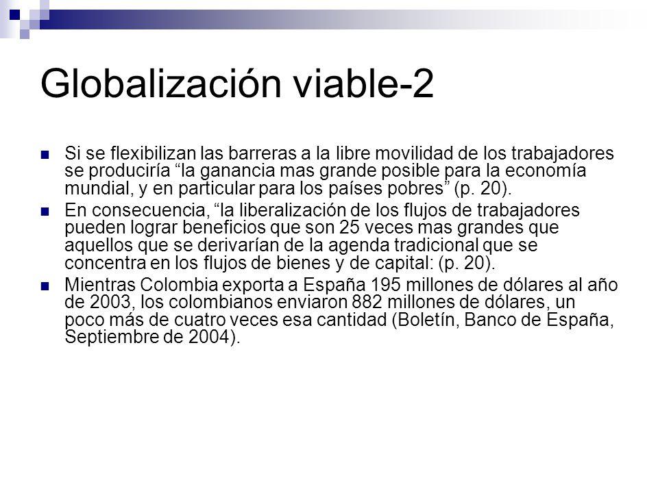 Globalización viable-2 Si se flexibilizan las barreras a la libre movilidad de los trabajadores se produciría la ganancia mas grande posible para la economía mundial, y en particular para los países pobres (p.