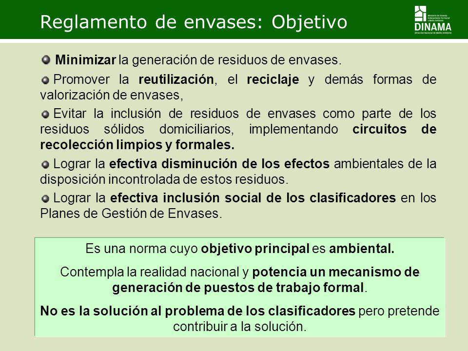 Reglamento de envases: Objetivo Minimizar la generación de residuos de envases. Promover la reutilización, el reciclaje y demás formas de valorización