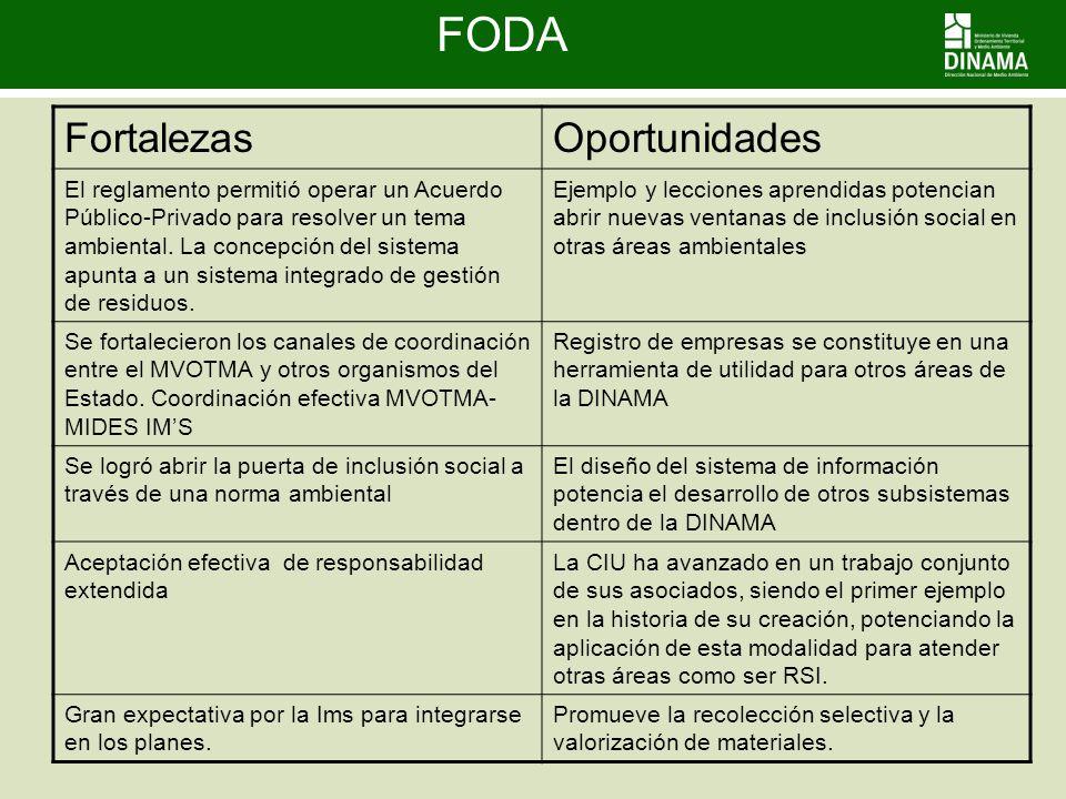 FODA FortalezasOportunidades El reglamento permitió operar un Acuerdo Público-Privado para resolver un tema ambiental. La concepción del sistema apunt