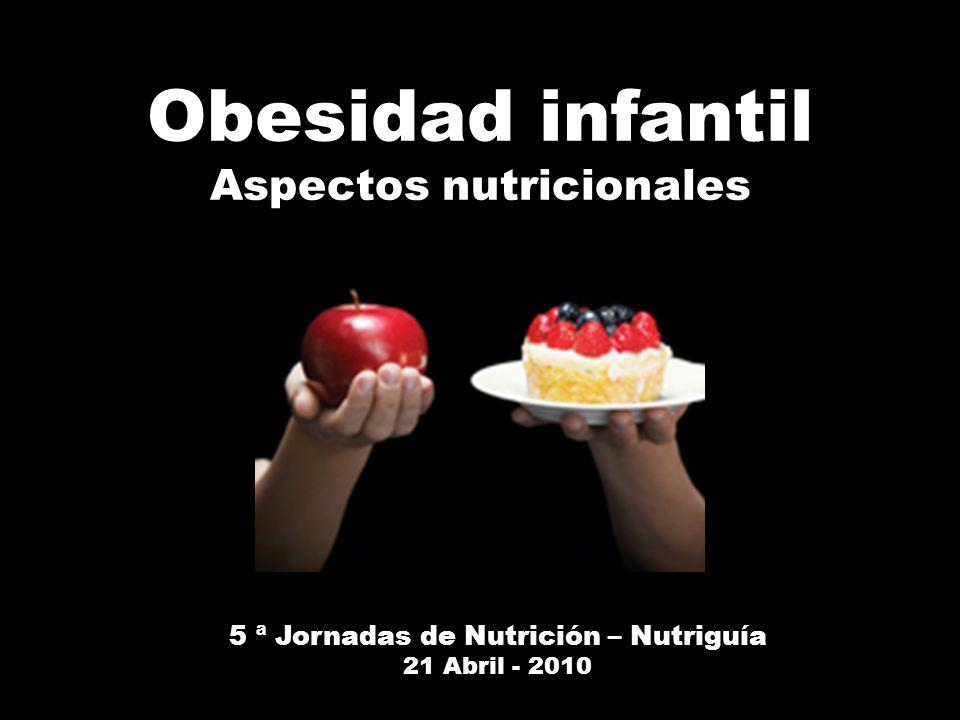 Obesidad infantil Aspectos nutricionales 5 ª Jornadas de Nutrición – Nutriguía 21 Abril - 2010