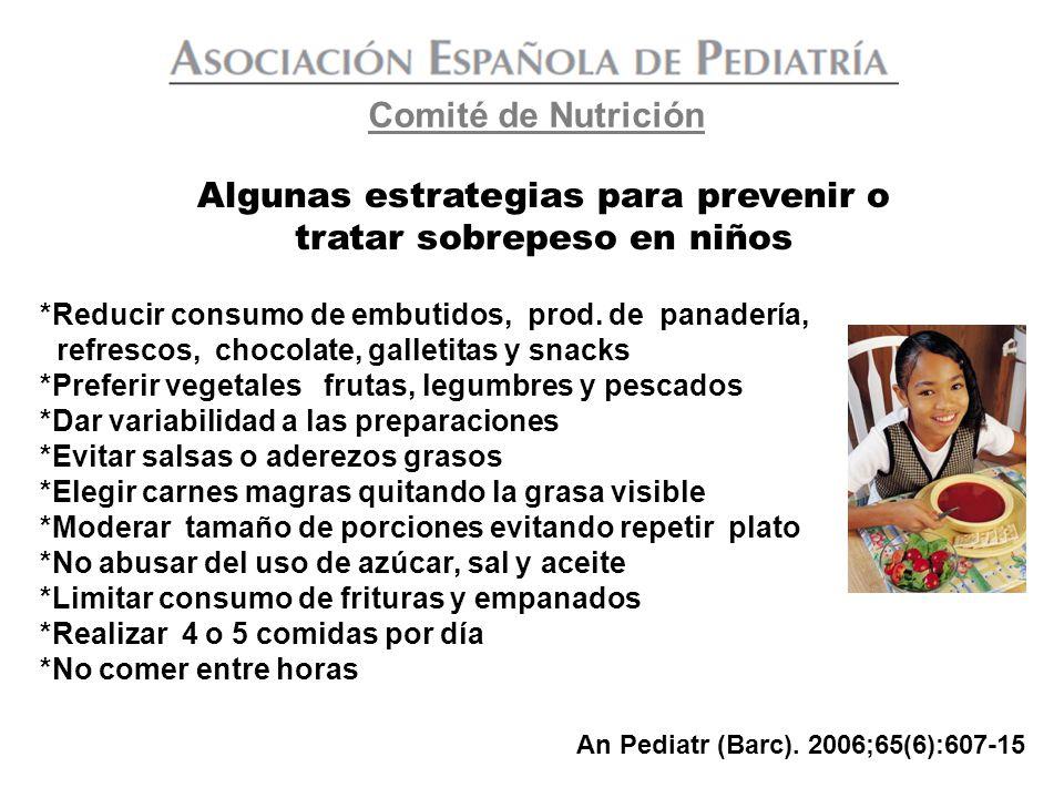 Algunas estrategias para prevenir o tratar sobrepeso en niños *Reducir consumo de embutidos, prod. de panadería, refrescos, chocolate, galletitas y sn