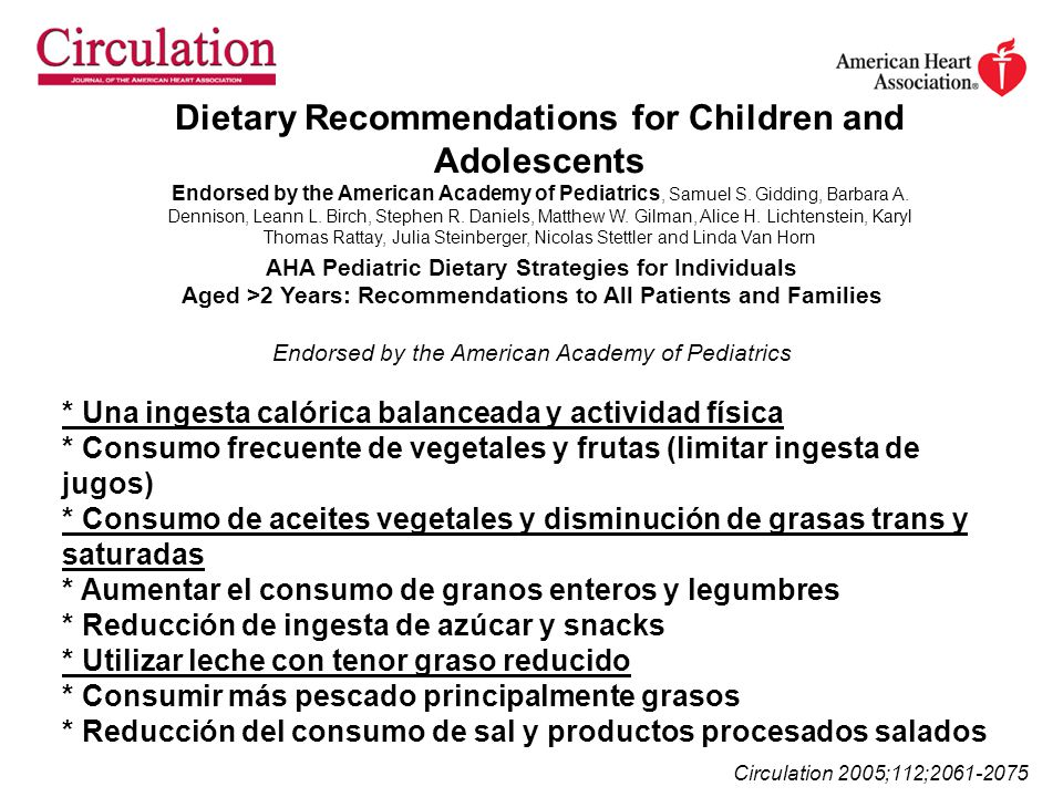 Dietary Recommendations for Children and Adolescents Endorsed by the American Academy of Pediatrics, Samuel S. Gidding, Barbara A. Dennison, Leann L.