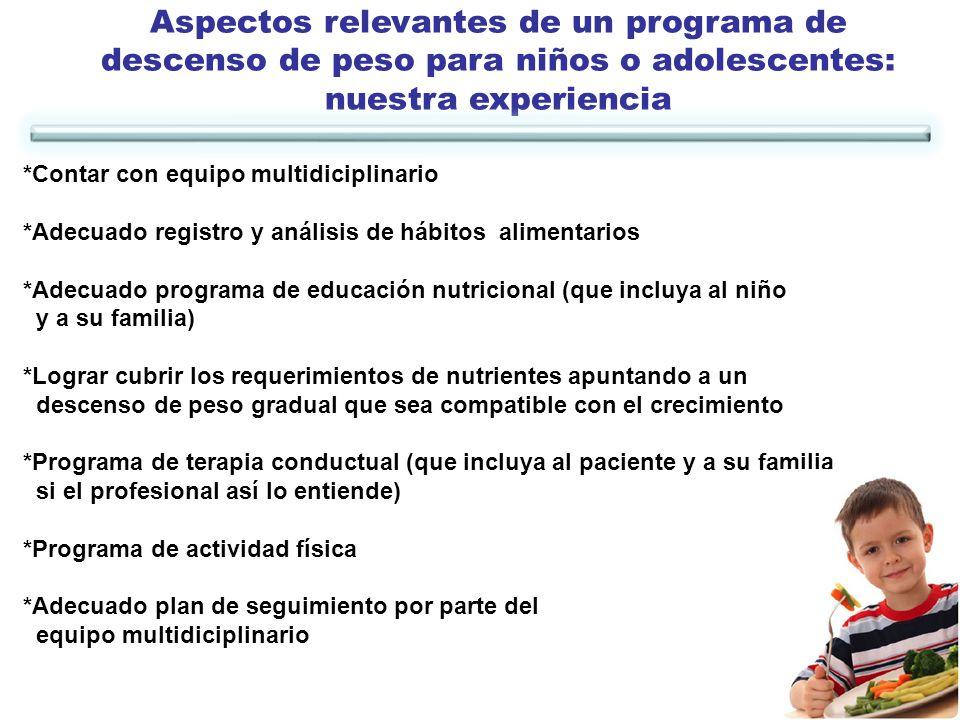 Aspectos relevantes de un programa de descenso de peso para niños o adolescentes: nuestra experiencia *Contar con equipo multidiciplinario *Adecuado r