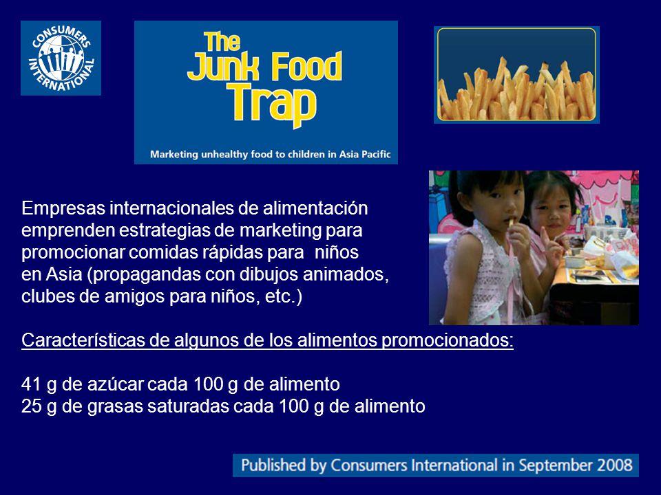Empresas internacionales de alimentación emprenden estrategias de marketing para promocionar comidas rápidas para niños en Asia (propagandas con dibuj
