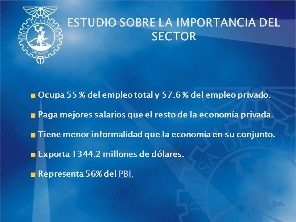 Ocupa 55 % del empleo total y 57.6 % del empleo privado. Paga mejores salarios que el resto de la economía privada. Tiene menor informalidad que la ec