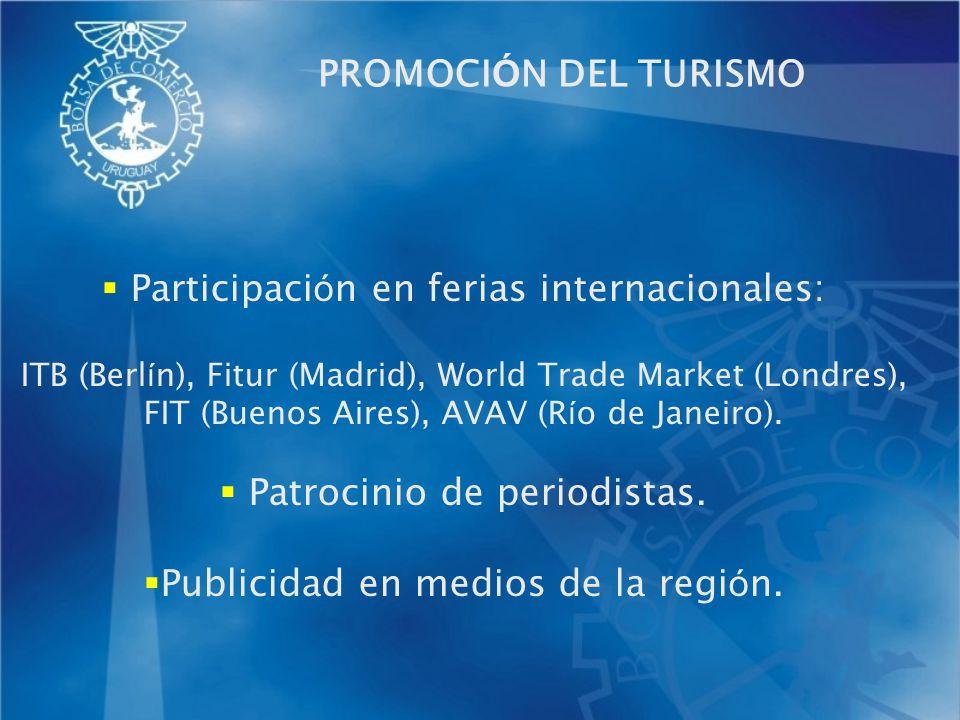 PROMOCI Ó N DEL TURISMO Participaci ó n en ferias internacionales: ITB (Berl í n), Fitur (Madrid), World Trade Market (Londres), FIT (Buenos Aires), A