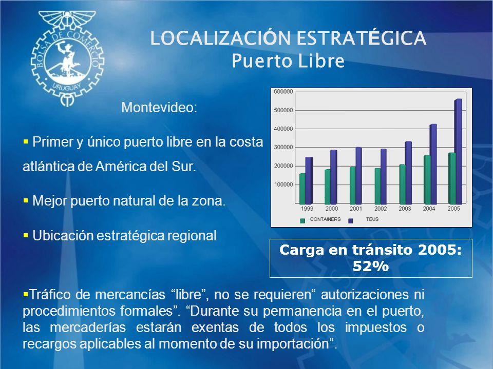 Montevideo: Primer y único puerto libre en la costa atlántica de América del Sur. Mejor puerto natural de la zona. Ubicación estratégica regional Tráf