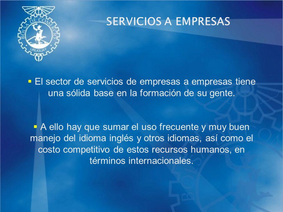 SERVICIOS A EMPRESAS El sector de servicios de empresas a empresas tiene una sólida base en la formación de su gente. A ello hay que sumar el uso frec