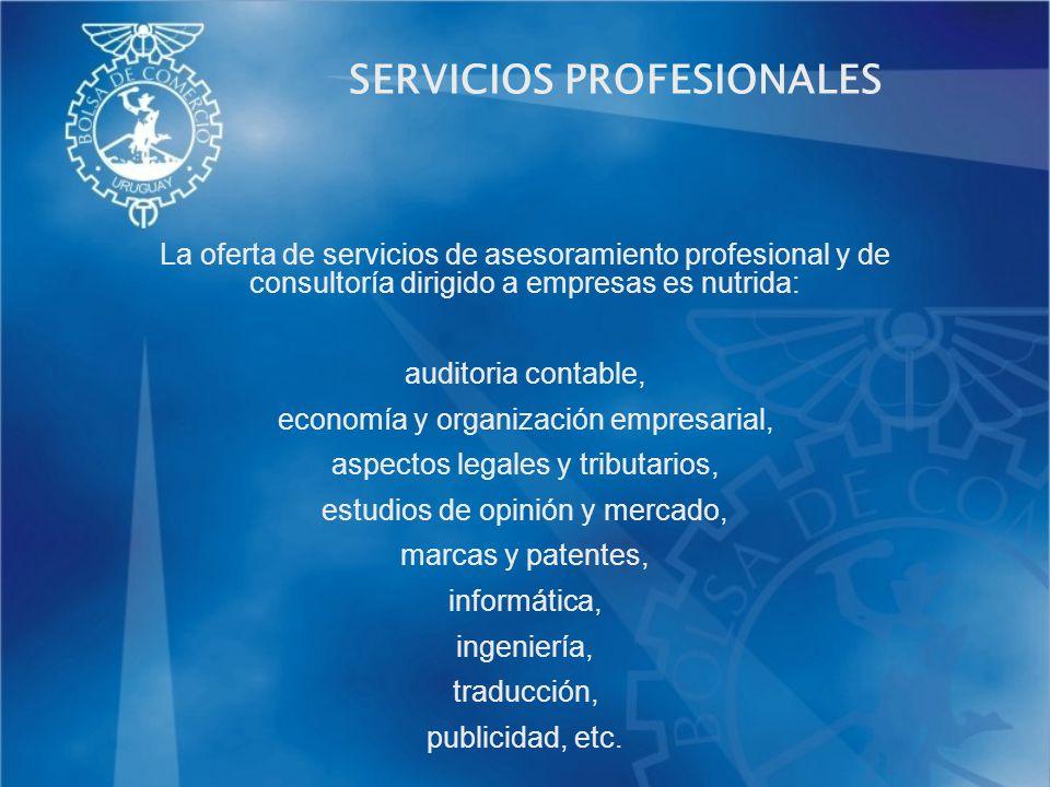 SERVICIOS PROFESIONALES La oferta de servicios de asesoramiento profesional y de consultoría dirigido a empresas es nutrida: auditoria contable, econo
