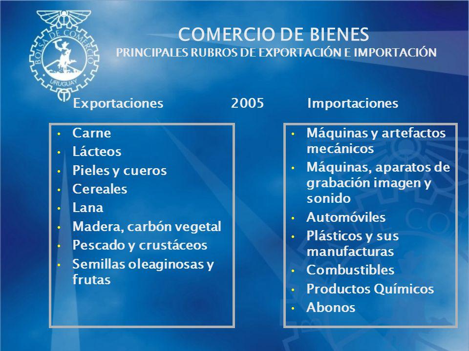 COMERCIO DE BIENES PRINCIPALES RUBROS DE EXPORTACIÓN E IMPORTACIÓN Carne Lácteos Pieles y cueros Cereales Lana Madera, carbón vegetal Pescado y crustá