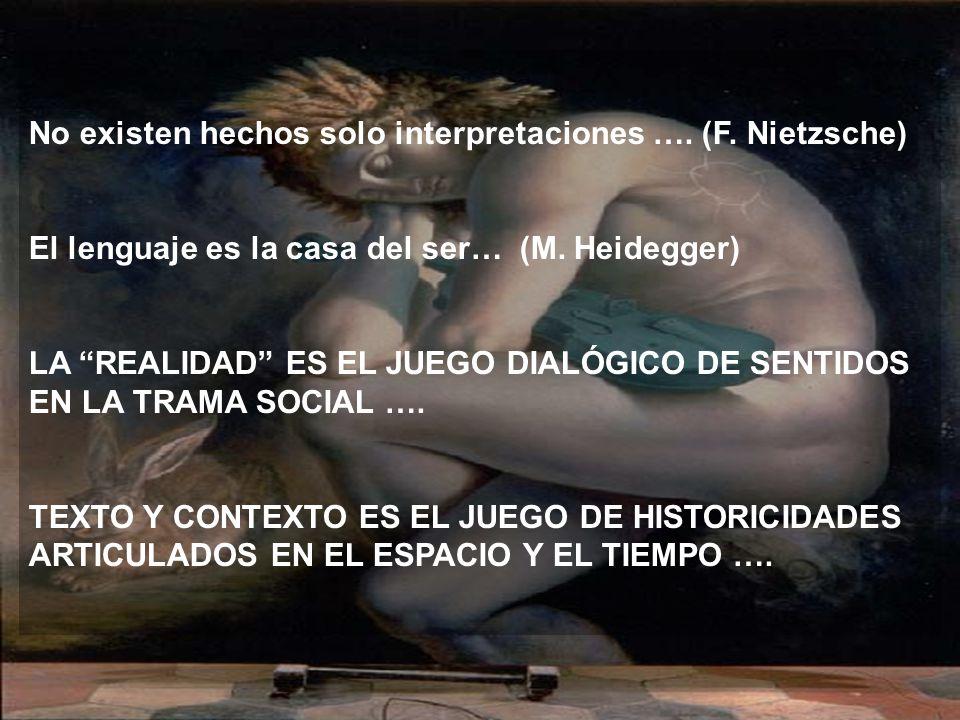 No existen hechos solo interpretaciones ….(F. Nietzsche) El lenguaje es la casa del ser… (M.