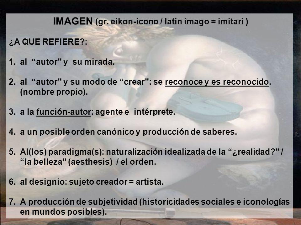 IMAGEN (gr.eikon-icono / latin imago = imitari ) ¿A QUE REFIERE?: 1.al autor y su mirada.
