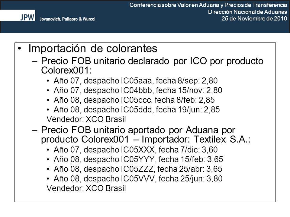 Conferencia sobre Valor en Aduana y Precios de Transferencia Dirección Nacional de Aduanas 25 de Noviembre de 2010 Importación de colorantes –Precio F