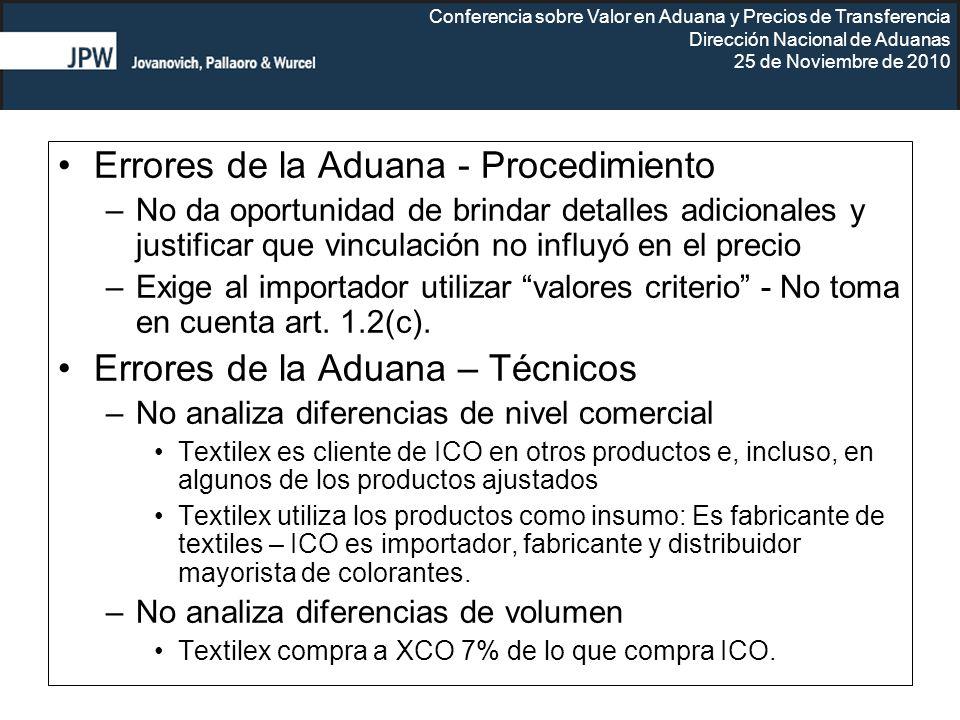 Conferencia sobre Valor en Aduana y Precios de Transferencia Dirección Nacional de Aduanas 25 de Noviembre de 2010 Errores de la Aduana - Procedimient