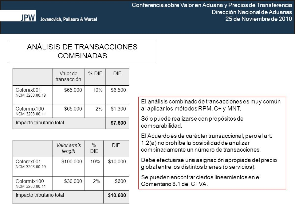 Conferencia sobre Valor en Aduana y Precios de Transferencia Dirección Nacional de Aduanas 25 de Noviembre de 2010 Valor de transacción % DIEDIE Color