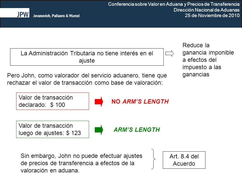 Conferencia sobre Valor en Aduana y Precios de Transferencia Dirección Nacional de Aduanas 25 de Noviembre de 2010 Valor de transacción declarado: $ 1