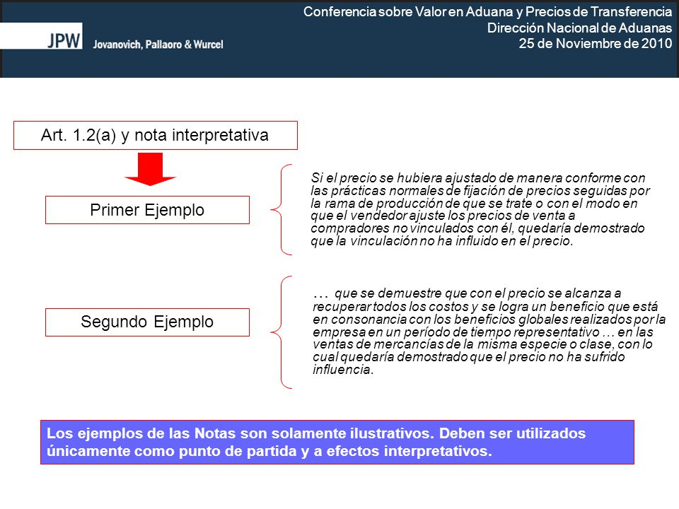 Conferencia sobre Valor en Aduana y Precios de Transferencia Dirección Nacional de Aduanas 25 de Noviembre de 2010 … que se demuestre que con el preci